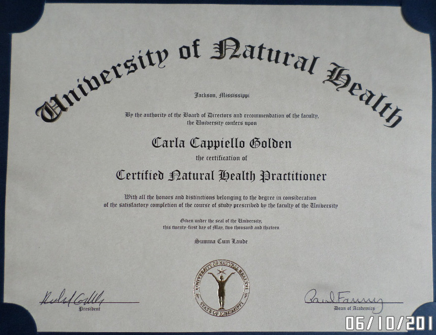 Certified Natural Health Practitioner
