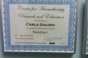 Center for Aromatherapy Research and Education Raindrop 1 Certification
