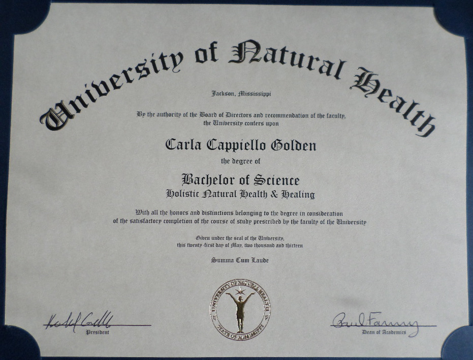 Bachelor Of Science Degree Practitioner Certifications Carla Golden